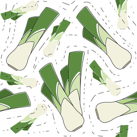 Seamless pattern with green leek vegetable flat vector illustration on white background.