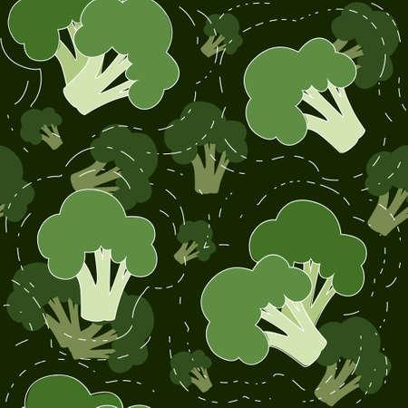 Seamless pattern green broccoli vegetable flat vector illustration on dark background.