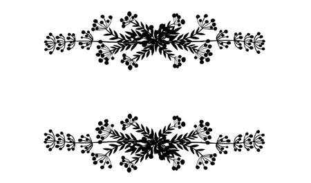 Czarna sylwetka rama górna i prawa ręka ciągnione gałęzie drzew z liści i jagód botanicznych kwiatów kwiatowy ręcznie rysowane stylu skandynawskim sztuki projektowania elementu płaskie wektor ilustracja. Ilustracje wektorowe