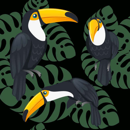 Seamless pattern of mature brazilian toucan bird cartoon animal design flat vector illustration on dark background with green leaves.