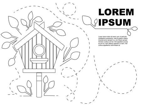 Outline style nesting box on wooden pole wooden birdhouse flat vector illustration on white background with leaves advertising flyer banner design.