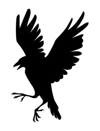 Black silhouette raven bird cartoon crow design flat vector animal illustration isolated on white background.