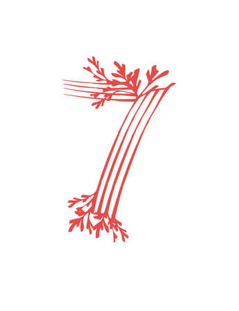 Number 7 pink colored seaweeds underwater ocean plant sea coral elements flat vector illustration on white background. 일러스트