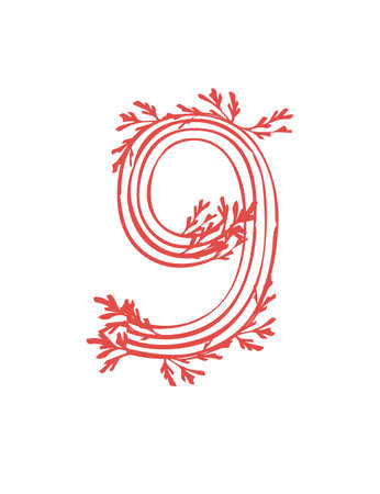 Number 9 pink colored seaweeds underwater ocean plant sea coral elements flat vector illustration on white background.