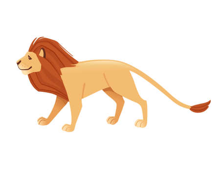 Proud powerful cute lion character cartoon style animal design flat vector illustration isolated on white background.