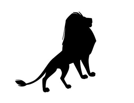 Black silhouette proud powerful cute lion character cartoon style animal design flat vector illustration isolated on white background.
