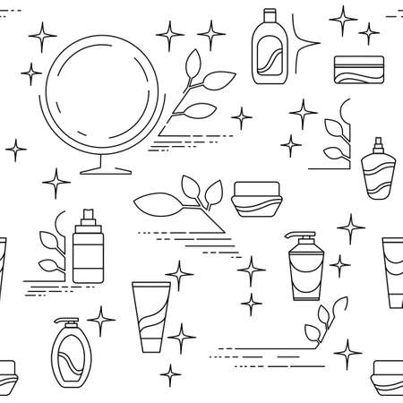 Cosmetics packages beauty products outline linear set icon flat vector illustration isolated on white background