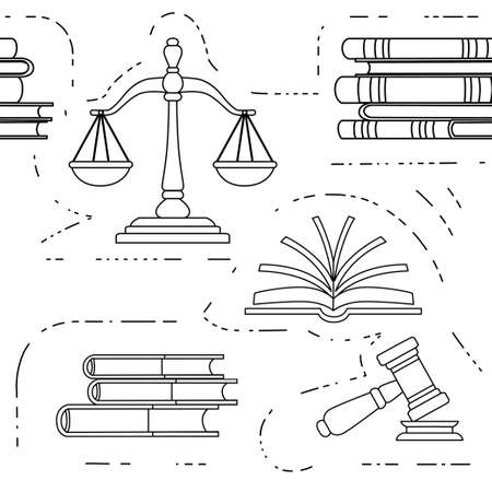 Seamless pattern justice scales and wooden judge gavel law hammer sign with books of laws legal law and auction symbol flat vector illustration on white background outline style