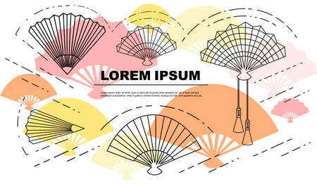 Flyer or greetings card design hand fan asian style vintage souvenir outline style flat vector illustration on white background with colored silhouettes of hand fans