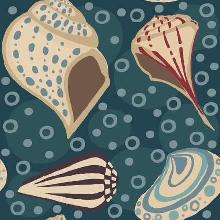 Seamless pattern big different seashell collection colored tropical shells flat vector illustration