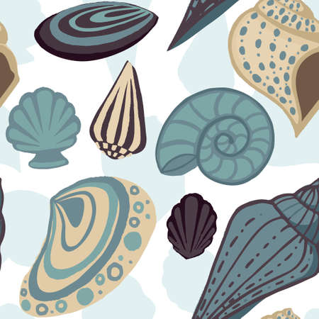 Seamless pattern big different seashell collection colored tropical shells flat vector illustration on white background. Ilustrace