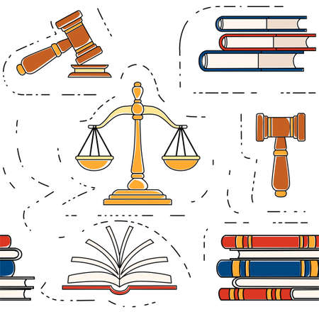 Seamless pattern justice scales and wooden judge gavel law hammer sign with books of laws legal law and auction symbol flat vector illustration on white background outline style.
