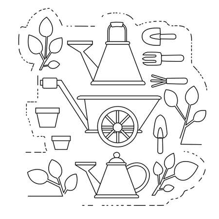 Gardening items collection outline icons set flat vector illustration on white background.