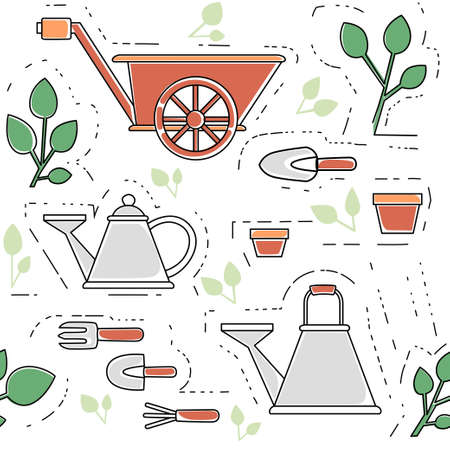 Seamless pattern gardening items collection outline icons set flat vector illustration on white background.