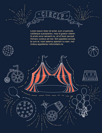 Outline circus icon red tent linear style vertical advertising flyer design flat vector illustration on white background.