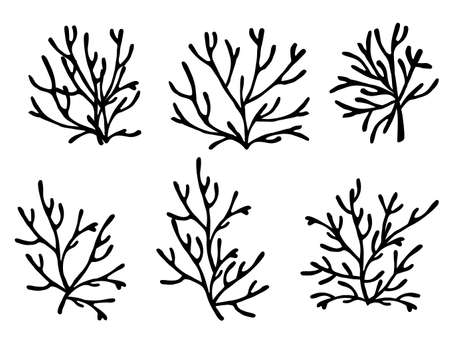 Set of black colored seaweeds silhouette underwater ocean plants sea coral elements flat vector illustration on white background. 일러스트