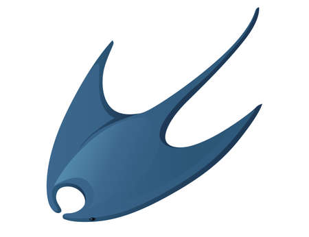 Manta ray underwater giant animal with wings simple cartoon character design flat vector illustration isolated on white background