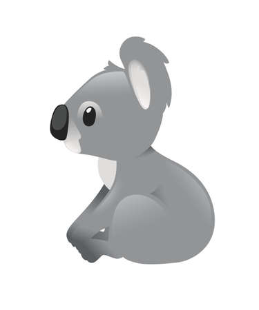 Cute grey koala bear sit on the ground and looking forward cartoon animal design flat vector illustration isolated on white background.