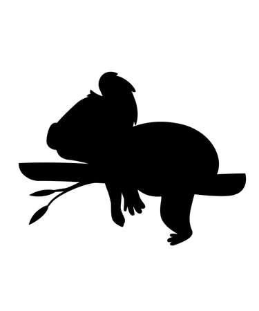 Black silhouette koala bear lies resting on a wood branch cartoon animal design flat vector illustration isolated on white background.
