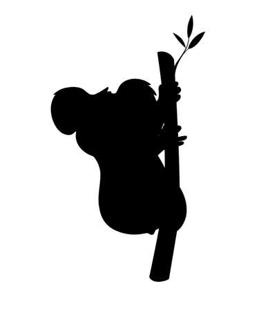 Black silhouette koala bear sit on wood branch cartoon animal design flat vector illustration isolated on white background.
