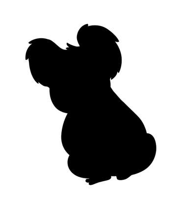 Black silhouette cute koala bear sit on the ground and looking at you cartoon animal design flat vector illustration isolated on white background. Çizim