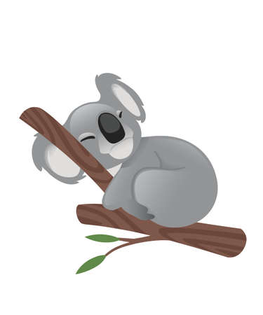 Cute grey koala bear sit on wood branch with green leaves cartoon animal design flat vector illustration isolated on white background.