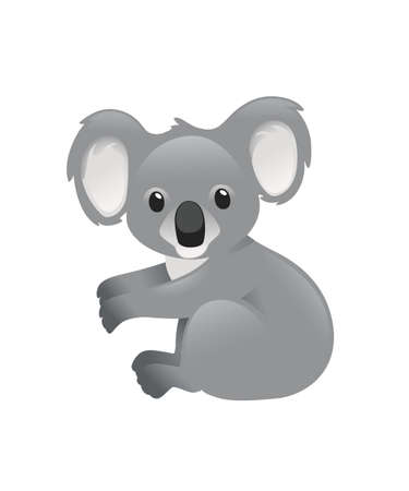 Cute grey koala bear sit on the ground and looking at you cartoon animal design flat vector illustration isolated on white background.