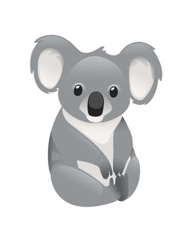 Cute grey koala bear sit on the ground and looking forward leaves cartoon animal design flat vector illustration isolated on white background.
