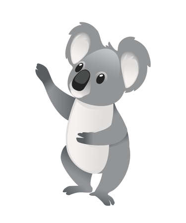 Cute grey koala bear stay on the ground and looking forward cartoon animal design flat vector illustration isolated on white background.