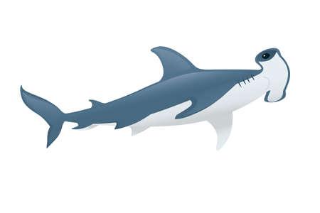 Hammerhead shark underwater giant animal simple cartoon character design flat vector illustration isolated on white background.