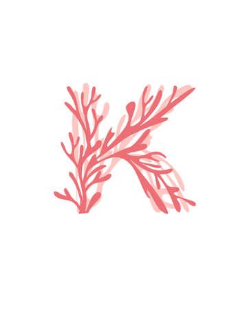 Letter K pink colored seaweeds underwater ocean plant sea coral elements flat vector illustration on white background. Ilustração