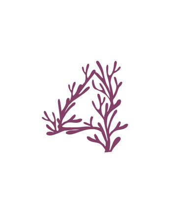 Number 4 purple colored seaweeds underwater ocean plant sea coral elements flat vector illustration on white background.