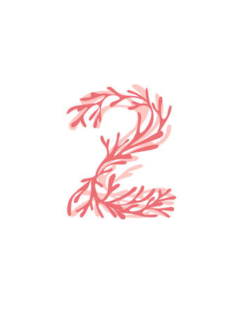 Number 2 pink colored seaweeds underwater ocean plant sea coral elements flat vector illustration on white background.