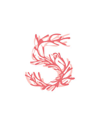 Number 5 pink colored seaweeds underwater ocean plant sea coral elements flat vector illustration on white background. 일러스트