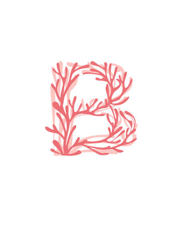 Letter B pink colored seaweeds underwater ocean plant sea coral elements flat vector illustration on white background.