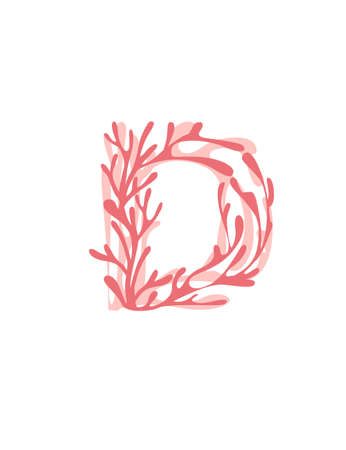 Letter D pink colored seaweeds underwater ocean plant sea coral elements flat vector illustration on white background.