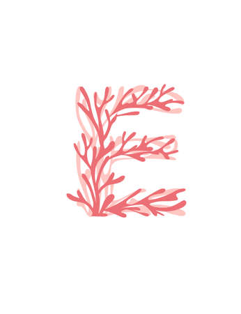 Letter E pink colored seaweeds underwater ocean plant sea coral elements flat vector illustration on white background.
