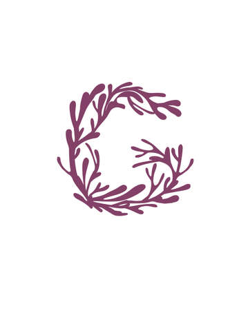 Letter G purple colored seaweeds underwater ocean plant sea coral elements flat vector illustration on white background.