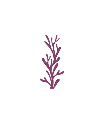 Letter I purple colored seaweeds underwater ocean plant sea coral elements flat vector illustration on white background.