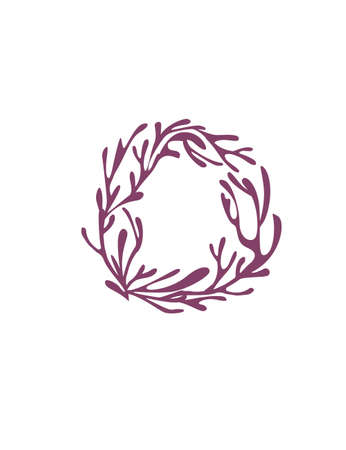 Letter O purple colored seaweeds underwater ocean plant sea coral elements flat vector illustration on white background. Ilustração