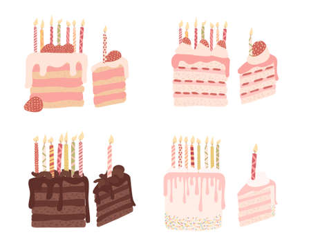 Set of piece of cake with fruits and birthday candles flat vector illustration isolated on white background