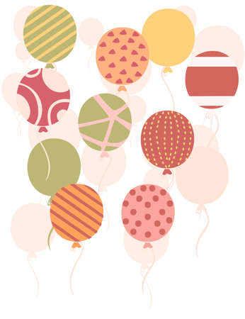 Group of flat flying up balloons with different texture pattern flat vector illustration isolated on white background.