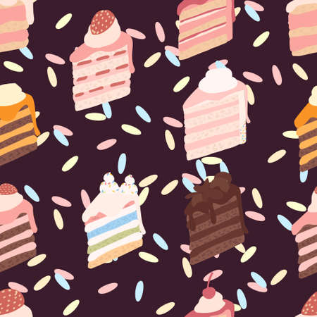 Seamless pattern piece of cake with different ingredients cream-topped multi-layer cake flat vector illustration on brown background.  イラスト・ベクター素材