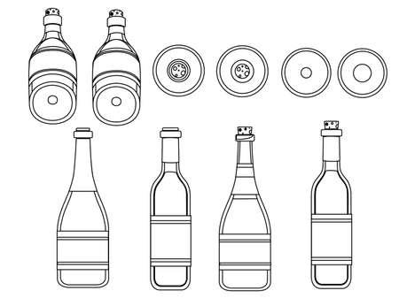 Outline wine glass bottle set flat vector illustration on white background.