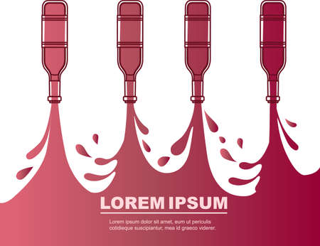 Advertising flyer design with pouring red wine from glass bottle abstract outline style flat vector illustration on white background.