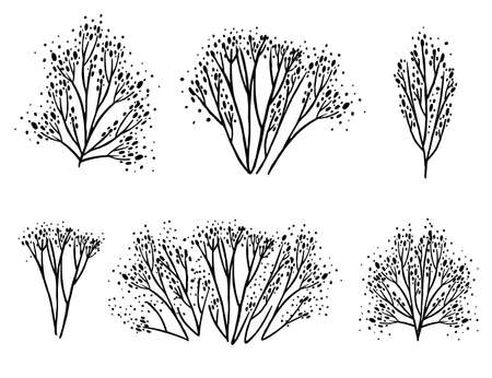 Set of black coral seaweeds silhouettes flat vector illustration isolated on white background. 일러스트