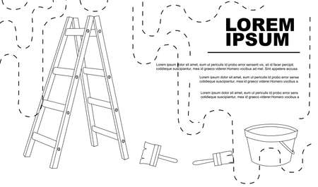 Advertising flyer or banner with outline painter tools and ladder flat vector illustration on white background.