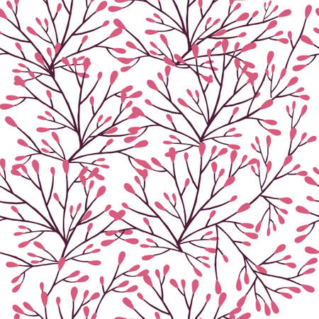 Seamless pattern of brown coral seaweeds silhouettes flat vector illustration on white background.
