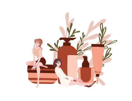 Advertising flyer or greetings card design with natural organic cosmetics in plastic packages girls sit on and near cosmetics flat vector illustration on white background with green leaves.