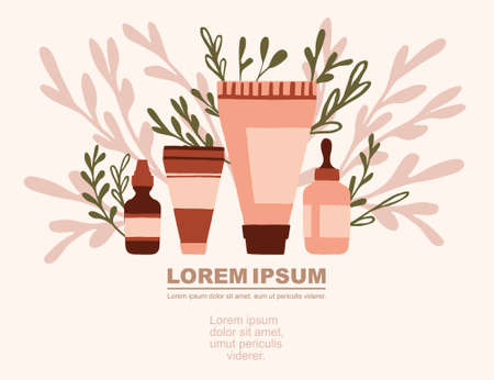 Advertising flyer or greetings card design with icons natural organic cosmetics in plastic packages flat vector illustration on pink background with green leaves. Иллюстрация